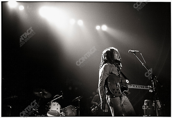 Bob Marley and The Wailers in Brussels, Belgium, on their Exodus Tour in Europe.  May 11, 1977.