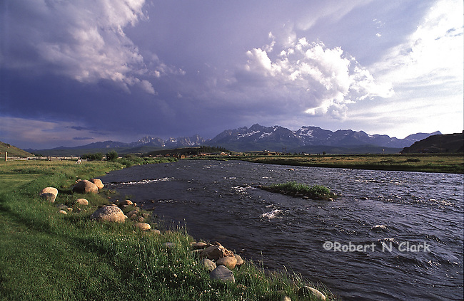 Salmon River and Sawtooth Mountains near Stanley, Idaho