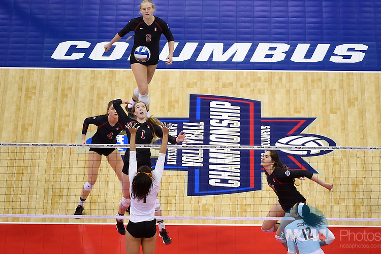 COLUMBUS, OH - DECEMBER 17:  Jenna Gray (1) of Stanford University dinks the ball against the University of Texas during the Division I Women's Volleyball Championship held at Nationwide Arena on December 17, 2016 in Columbus, Ohio.  Stanford defeated Texas 3-1 to win the national title. (Photo by Jamie Schwaberow/NCAA Photos via Getty Images)