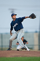 Helena Brewers starting pitcher Alec Bettinger (28) in action against the Great Falls Voyagers at Centene Stadium on August 18, 2017 in Helena, Montana.  The Voyagers defeated the Brewers 10-7.  (Brian Westerholt/Four Seam Images)