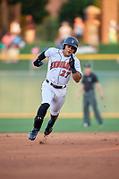 Indianapolis Indians left fielder Jason Martin (27) runs the bases during a game against the Rochester Red Wings on July 24, 2018 at Victory Field in Indianapolis, Indiana.  Rochester defeated Indianapolis 2-0.  (Mike Janes/Four Seam Images)