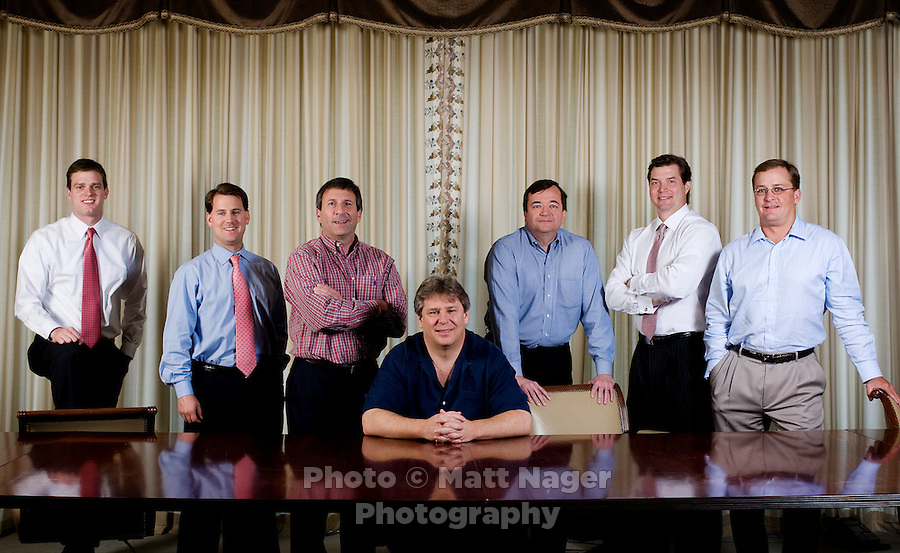 Left to right, HM Capital Associate Ryan Strawn (cq), HM Capital Vice President Will Jaudes (cq), EVP Finance Tim Merrell (cq), CEO of TriDimension Energy James Ryan (cq), CFO of TriDimension Ken Gregg (cq), HM Capital Partner Jason Downie (cq), and HM Capital Partner Edward Herring (cq) in the HM Capital offices in Dallas, Texas, Monday, April 28, 2008. HM Capital Partners LLC, a leading, Dallas-based private equity firm, has acquired TriDimension Energy (TDE), an oil and gas exploration company.