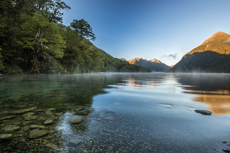 A serene morning at Lake Gunn in Fiordland National Park