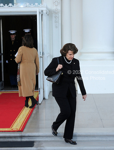 Washington, DC - January 20, 2009 -- United States Senator Diane Feinstein (Democrat of California) departs the White House through the North Portico, for the swearing-in ceremony on Tuesday, January 20, 2009, in Washington, DC.  .Credit: Leslie Kossoff - Pool via CNP