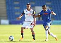 Bolton Wanderers' Finlay Lockett and Colchester United's Paris Cowan-Hall<br /> <br /> Photographer Rob Newell/CameraSport<br /> <br /> The EFL Sky Bet League Two - Colchester United v Bolton Wanderers - Saturday 19th September 2020 - Colchester Community Stadium - Colchester<br /> <br /> World Copyright © 2020 CameraSport. All rights reserved. 43 Linden Ave. Countesthorpe. Leicester. England. LE8 5PG - Tel: +44 (0) 116 277 4147 - admin@camerasport.com - www.camerasport.com