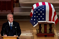 Former Canadian Prime Minister Brian Mulroney speaks during the State Funeral for former President George H.W. Bush at the National Cathedral, Wednesday, Dec. 5, 2018, in Washington.<br /> CAP/MPI/RS<br /> &copy;RS/MPI/Capital Pictures