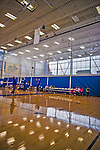 27 October 2013: Views of the gymnasium at the College of Mount Saint Vincent in Riverdale, NY. The Dolphins defeated the Maccabees 3-0 in NCAA women's volleyball play. Mandatory Credit: Ed Wolfstein Photo *** RAW (NEF) Image File Available ***
