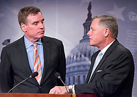United States Senator Richard Burr (Republican of North Carolina), Chairman, US Senate Select Committee on Intelligence, right, and US Senator Mark Warner (Democrat of Virginia), Vice Chairman, US Senate Select Committee on Intelligence, left, hold a joint press conference in the US Capitol to discuss the upcoming committee hearings on Russian intelligence activities in the US and around the world on Wednesday, March 29, 2017.<br /> Credit: Ron Sachs / CNP /MediaPunch