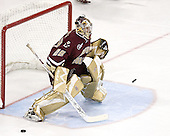 Joe Pearce 29 of Boston College takes part in warmups. The Boston College Eagles defeated the University of Wisconsin Badgers 3-0 on Friday, October 27, 2006, at the Kohl Center in Madison, Wisconsin in their first meeting since the 2006 Frozen Four Final which Wisconsin won 2-1 to take the national championship.<br />