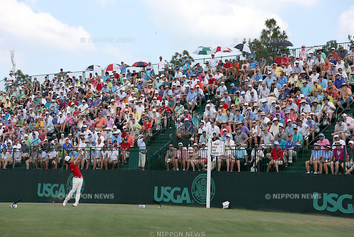Kevin Na (USA),<br /> JUNE 14, 2014 - Golf :<br /> Kevin Na of the United States tees off on the 13th hole during the third round of the 114th U.S. Open Championship at Pinehurst Resort Country Club No.2 Course in Pinehurst, North Carolina, United States. (Photo by Koji Aoki/AFLO SPORT) [0008]