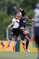 Cary, North Carolina  - Saturday July 01, 2017: Samantha Kerr and Abby Erceg during a regular season National Women's Soccer League (NWSL) match between the North Carolina Courage and the Sky Blue FC at Sahlen's Stadium at WakeMed Soccer Park.