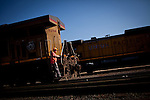 Mechanical shop operator Michael Rocha, rides a locomotive through a Union Pacific repair yard in Roseville, Calif., November 8, 2011. Rocha has worked at Union Pacific for ten years..CREDIT: Max Whittaker/Prime for The Wall Street Journal.HIRE