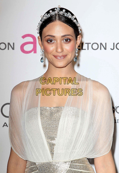 Emmy Rossum.The 21st Annual Elton John AIDS Foundation Academy Awards Viewing Party held at The City of West Hollywood Park in West Hollywood, California, USA..February 24th, 2013.oscars half length dress white sheer blue pearls silver belt hairband .CAP/ADM/KB.©Kevan Brooks/AdMedia/Capital Pictures.