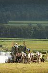 Amishman and son processing hay bales.