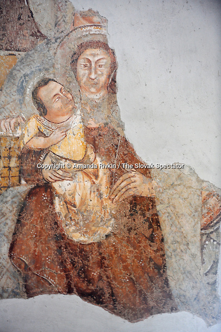 A detail of a 14th century fresco rediscovered in the 1930s in the 12th century Gothic church is seen in Svinica, Slovakia on June 4, 2010.