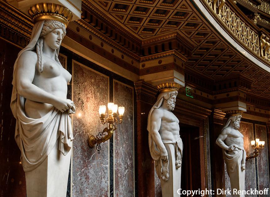 Historischer Sitzungssaal im Parlament, Dr.-Karl-Renner-Ring 3, Wien, &Ouml;sterreich, UNESCO-Weltkulturerbe<br /> Historical Assembly Hall of the Parliament, Vienna, Austria, world heritage