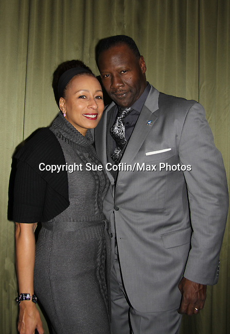 As The World Turns and Law and Order SVU Tamara Tunie poses with Gregory Generet at the 2013 HeartShare 2013 Celebration of Hope, Thanks and Giving which had cocktails, dinner, auction at Battery Gardens, New York City, New York. Stephen Schnetzer and Tamara Tunie and husband Gregory Generet also support HeartShare. (Photo by Sue Coflin/Max Photos)