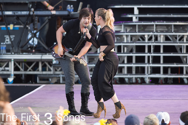 Kimberly Perry and Neil Perry of The Band Perry perform onstage during The Tortuga Music Festival in Fort Lauderdale, Florida.