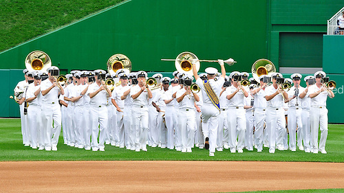 The United States Navy Band performs a medley of service anthems prior to the game where the Atlanta Braves played the Washington Nationals at Nationals Park in Washington, D.C. on Sunday, September 26, 2010.  .Credit: Ron Sachs / CNP