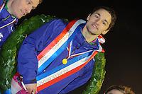 KORTEBAAN: Lemmer: IJsvereniging Lemmer, 21-01-2013, Schaatsseizoen 2012-2013, NK kortebaan, winnaar Jesper Hospes, ©foto Martin de Jong