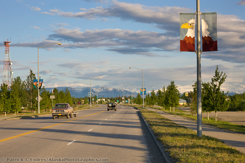 Richardson highway and the town of Delta Junction, Interior, Alaska.