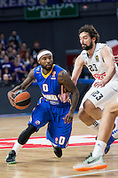 Real Madrid's Sergio Llull and Khimki Moscow's Tyrese Rice during Euroleague match at Barclaycard Center in Madrid. April 07, 2016. (ALTERPHOTOS/Borja B.Hojas) /NortePhoto