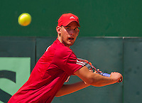 Austria, Kitzbühel, Juli 17, 2015, Tennis, Davis Cup, First round match between Dominic Thiem (AUT) vs Thiemo de Bakker (NED)  pictured: Dominic Thiem<br /> Photo: Tennisimages/Henk Koster