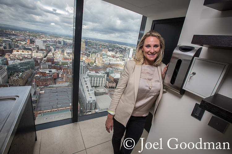 © Joel Goodman - 07973 332324 . 24 June 2013 . Orchid Suite , Beetham Tower , Manchester , UK . JENNIE PLATT , MD and owner of City Centre Chic , the property sales and management company looking for a customer for the apartment . Former triplex apartment home of Phil and Julie Neville , which is up for rent and thought to be the most expensive in Manchester . Photo credit : Joel Goodman