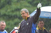 Ryder Cup K Club Straffin Co Kildare..European Ryder Cup Team player Darren Clarke celebrates on the 17th green during the morning fourball session of the second day of the 2006 Ryder Cup at the K Club in Straffan, County Kildare, in the Republic of Ireland, 23 September, 2006..Photo: Barry Cronin/ Newsfile.