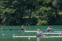 "Lucerne, SWITZERLAND, 14th July 2018, Saturday, ""Men's Single Sculls"".,  Left, ""NZL M1X"", ""Robbie MANSON"" centre ""FRA M1X"", ""Thibaut VERHOEVEN"" and, right, ""CZE M1X"" ""Ondrej SYNEK"", ""Semi Final A/B 2"",  FISA World Cup III Lake Rotsee, © Peter SPURRIER,"