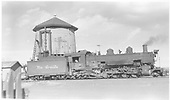 Engineer side view of K-37 #494 at water tank in Antonito.<br /> D&amp;RGW  Antonito, CO  Taken by Richardson, Robert W. - 3/1950