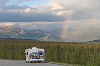 Motorhome along the Denali Park Road, rainbow over the Alaska range, Denali National Park, Alaska