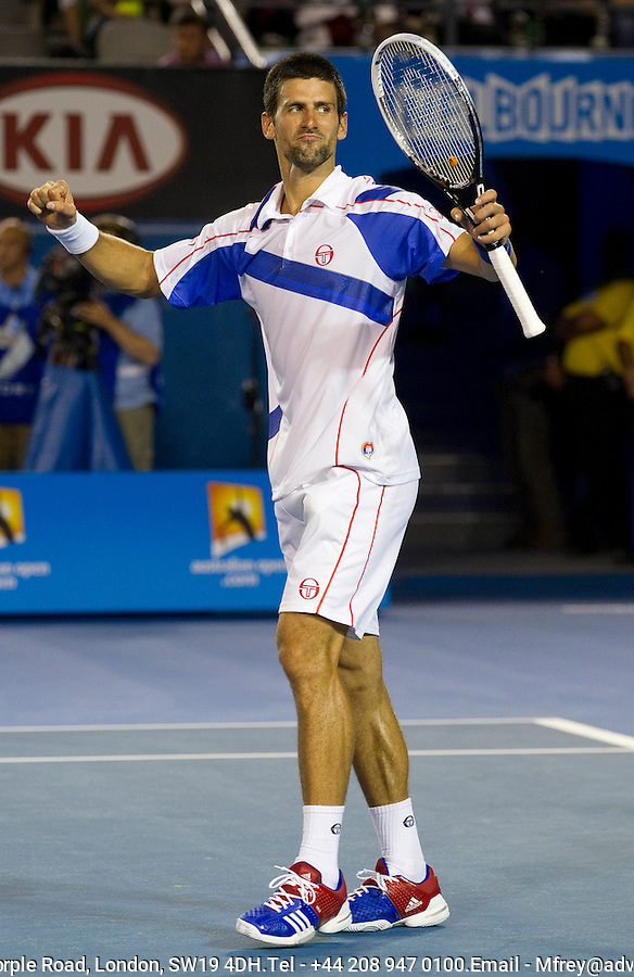 Novak Djokovic (SRB) (3) against Tomas Berdych (CZE) (6) in the Quarter Finals of the men's singles. Novak Djokovic beat Tomas Berdych 6-1 7-6 6-1..International Tennis - Australian Open  -  Melbourne Park - Melbourne - Day 9 - Tues 25th January 2011..© Frey - AMN Images, Level 1, Barry House, 20-22 Worple Road, London, SW19 4DH.Tel - +44 208 947 0100.Email - Mfrey@advantagemedianet.com.Web - www.amnimages.photshelter.com