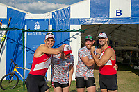 """Henley on Thames, United Kingdom, 3rd July 2018, Friday,  """"Henley Royal Regatta"""",  Competitors for the Silver Goblets and Nickalls' Challenge Cup, Red, Left, Valent SINKOVIC,  Nick PUSININELLI , Jamie PALMER, right Martin SINKOVIC, Henley Reach, River Thames, Thames Valley, England, UK."""