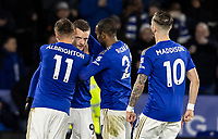 Leicester City's Jamie Vardy (2nd left) celebrates scoring his side's second goal from the penalty spot <br /> <br /> Photographer Andrew Kearns/CameraSport<br /> <br /> The Premier League - Leicester City v Aston Villa - Monday 9th March 2020 - King Power Stadium - Leicester<br /> <br /> World Copyright © 2020 CameraSport. All rights reserved. 43 Linden Ave. Countesthorpe. Leicester. England. LE8 5PG - Tel: +44 (0) 116 277 4147 - admin@camerasport.com - www.camerasport.com