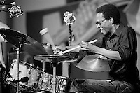 Brian Blade performing with the Wayne Shorter Quartet in the Jazz Tent on the WWOZ stage at the New Orleans Jazz & Heritage Festival in New Orleans, Louisiana. USA. Camera: Leica R8 / Lens: 135mm f/2.8 Elmarit-R / Film: Illford HP5 400