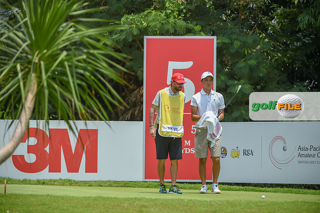 Min Woo LEE (AUS) looks over his tee shot on 5 during Rd 2 of the Asia-Pacific Amateur Championship, Sentosa Golf Club, Singapore. 10/5/2018.<br /> Picture: Golffile | Ken Murray<br /> <br /> <br /> All photo usage must carry mandatory copyright credit (© Golffile | Ken Murray)