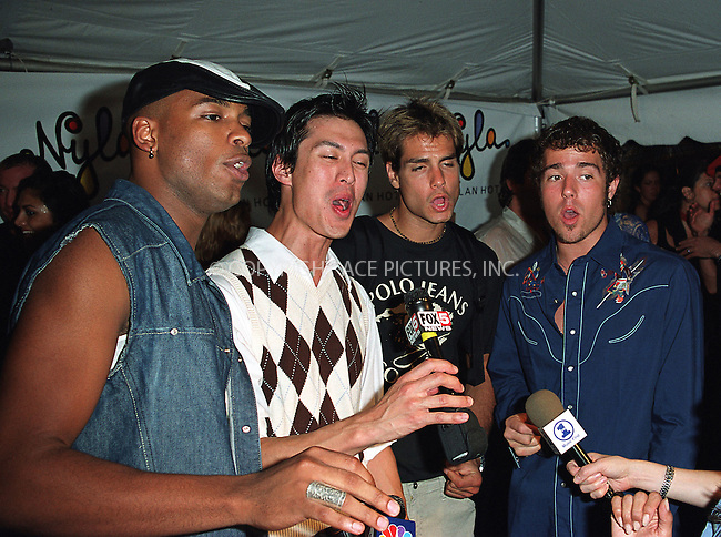 Boy band LMNT arrives at the opening of Britney Spears' restaurant Nyla at New York's Dylan Hotel. June 27, 2002. Please byline: Alecsey Boldeskul/NY Photo Press.   ..*PAY-PER-USE*      ....NY Photo Press:  ..phone (646) 267-6913;   ..e-mail: info@nyphotopress.com