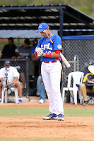Wilfi Payan participates in the International Prospect League Showcase at the New York Yankees academy in Boca Chica, Dominican Republic on January 24, 2014 (Bill Mitchell)