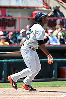 Akron RubberDucks outfielder Bryson Myles (23) at bat during a game against the Erie SeaWolves on May 18, 2014 at Jerry Uht Park in Erie, Pennsylvania.  Akron defeated Erie 2-1.  (Mike Janes/Four Seam Images)