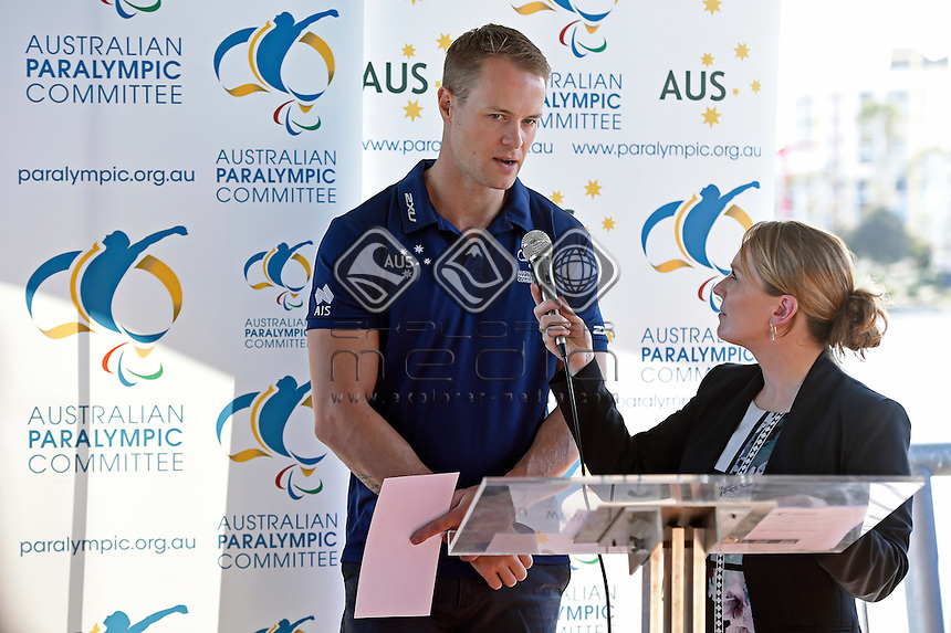 Para-Canoe / Curtis McGrath with Chef-de-Mission Kate McLoughlin <br /> 2016 APC RIO Para-Canoe Team announcement<br /> Australian Paralympic Committee<br /> Varsity Lakes Sportshouse / Gold Coast<br /> QLD Thursday 16 June 2016<br /> &copy; Sport the library / Jeff Crow