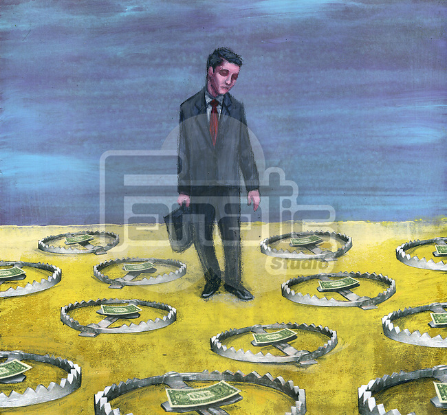 Illustrative image of businessman surrounded by money on bear traps