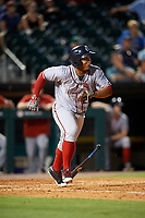 Syracuse Chiefs right fielder Moises Sierra (26) runs to first base during a game against the Buffalo Bisons on July 6, 2018 at Coca-Cola Field in Buffalo, New York.  Buffalo defeated Syracuse 6-4.  (Mike Janes/Four Seam Images)
