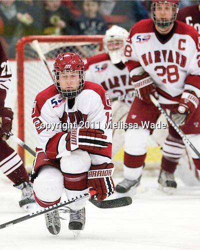 Colin Moore (Harvard - 12) - The Harvard University Crimson defeated the visiting Colgate University Raiders 6-2 (2 EN) on Friday, January 28, 2011, at Bright Hockey Center in Cambridge, Massachusetts.