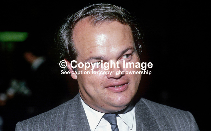 John Bowis, MP, Conservative Party, UK, 19871019JB1.<br /> <br /> Copyright Image from Victor Patterson,<br /> 54 Dorchester Park, <br /> Belfast, UK, BT9 <br /> <br /> t1: +44 28 9066 1296 (from Rep of Ireland 048 90661296)<br /> t2: +44 28 9002 2446 (from Rep of Ireland 048 9002 2446)<br /> <br /> m: +44 7802 353836<br /> <br /> e: victorpatterson@me.com<br /> www.victorpatterson.com<br /> <br /> Please see my Terms and Conditions of Use at www.victorpatterson.com. It is IMPORTANT that you familiarise yourself with them.<br /> <br /> Images used on the Internet must be visibly watermarked i.e. &copy; Victor Patterson<br /> within the body of the image and copyright metadata must not be deleted. Images <br /> used on the Internet have a size restriction of 4kbs and will be chargeable at current<br />  NUJ rates unless agreed otherwise.<br /> <br /> This image is only available for the use of the download recipient i.e. television station, newspaper, magazine, book publisher, etc, and must not be passed on to any third <br /> party. It is also downloaded on condition that each and every usage is notified within 7 days to victorpatterson@me.com<br /> <br /> The right of Victor Patterson to be identified as the author is asserted in accordance with The Copyright Designs And Patents Act (1988). All moral rights are asserted.