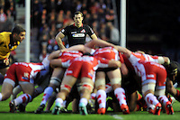 Tim Visser of Edinburgh Rugby watches a scrum. European Rugby Challenge Cup Final, between Edinburgh Rugby and Gloucester Rugby on May 1, 2015 at the Twickenham Stoop in London, England. Photo by: Patrick Khachfe / Onside Images