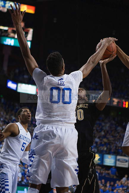 Forward Marcus Lee of the Kentucky Wildcats blocks a shot during the first half of the game against the Vanderbilt Commodores at Rupp Arena on January 20, 2015 in Lexington, Kentucky. Kentucky defeated Vanderbilt 65-57. Photo by Taylor Pence