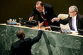 United States President Barack Obama shakes hands with United Nations Secretary General Ban Ki-moon (C) after addressing the 70th annual United Nations General Assembly at the UN headquarters September 28, 2015 in New York City. Obama will hold bilateral meetings with Indian Prime Minister Narendra Modi and Russian President Vladimir Putin later in the day. <br /> Credit: Chip Somodevilla / Pool via CNP