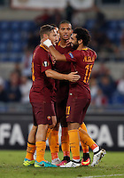Calcio, Europa League: Roma vs Astra Giurgiu. Roma, stadio Olimpico, 29 settembre 2016.<br /> Roma&rsquo;s Mohamed Salah, right, celebrates with his teammates Francesco Totti, left, and Juan Jesus, after scoring during the Europa League Group E soccer match between Roma and Astra Giurgiu at Rome's Olympic stadium, 29 September 2016. Roma won 4-0.<br /> UPDATE IMAGES PRESS/Isabella Bonotto