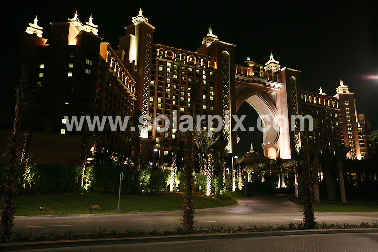 **ALL ROUND PICTURES FROM SOLARPIX.COM**.**WORLDWIDE SYNDICATION RIGHTS**.the opening day and night of the Atlantis Hotel, Dubai for the opening night of the Hotel, Atlantis, The Palm is the flagship resort on The Palm Jumeirah - the first resort to open its doors on Dubai's revolutionary island. Dubai, United Arab Emirates. 20th November 2008  ...This pic: Part of the light show at  the Atlantis, The Palm Hotel in Dubai launch party, which is the Middle East's biggest opening gala..JOB REF: 8290 DBL     DATE: 20_11_2008.**MUST CREDIT SOLARPIX.COM OR DOUBLE FEE WILL BE CHARGED* *ONLINE USAGE FEE £50.00 PER PICTURE - NOTIFICATION OF USAGE TO PHOTO@SOLARPIX.COM*